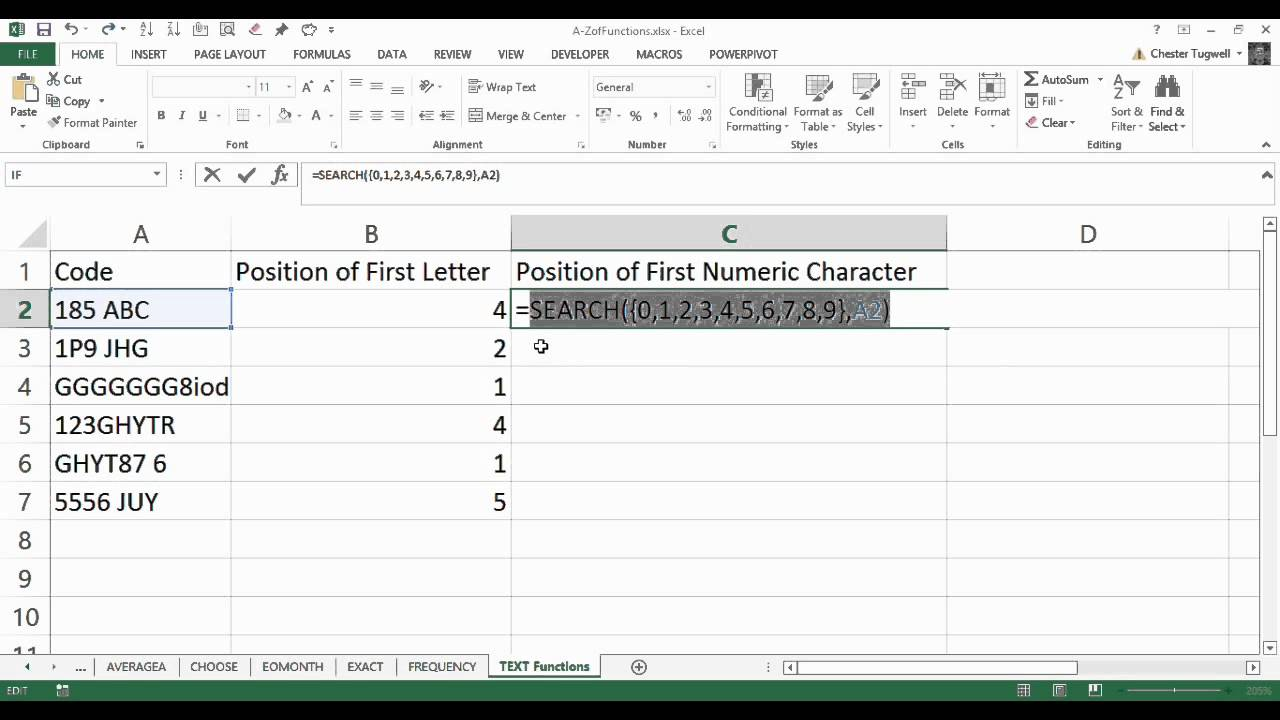 Excel Find Function: Find the first Numeric Character from Alphanumeric String