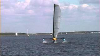 Windrider Rave Hydrofoil trailerable trimaran / boat v.s. Corsair F24 trimaran