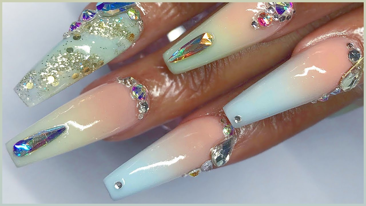 Femi's Ombré, Marble & Glitter Coffin Acrylic Nails Full Set