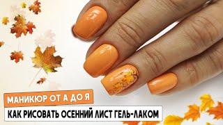 Осенний дизайн ногтей 2020 Как рисовать гель лаком Маникюр от А до Я Осенний лист гель лаком