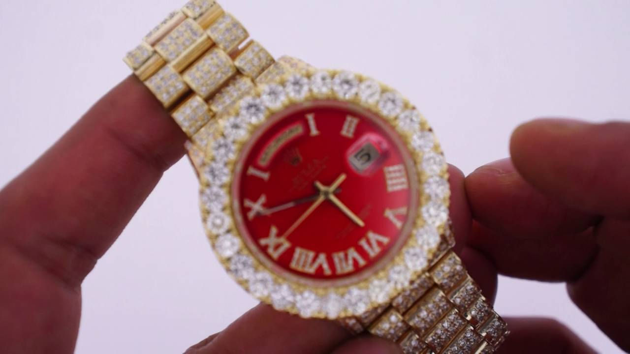 Diamond rolex replica - Red Face Rolex Day Date President 23 Carats Diamonds Iced Out With 9 Carats Huge Diamond Bezel Youtube