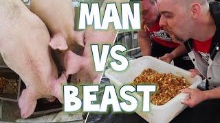 Man vs Beast Poutine Eating Contest (6 Pigs vs 2 Men) | Furious Pete