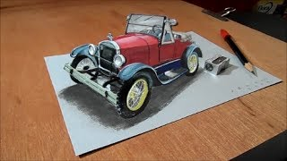 3D Drawing Car - How to Draw 3D Ford Car - Trick Art on Paper