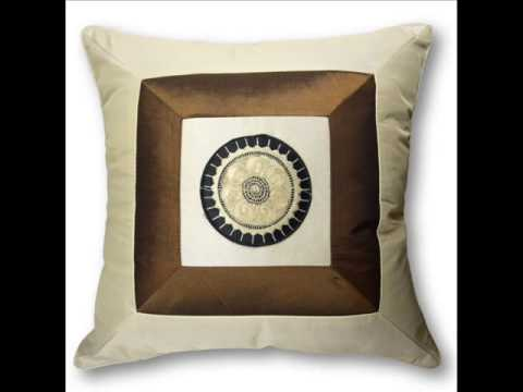 Silky Decorative Embroidered Oriental Cushion Pillow ; Bed Throw Pillows