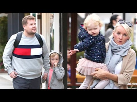 James Corden and Julia Carey with their children