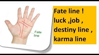 Luck line , line of wealth, line of  Saturn ,line of job , palmistry in english hast rekha