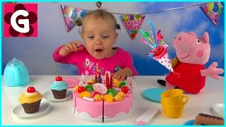 Gaby playing with Velcro Cutting Birthday Cake Toy