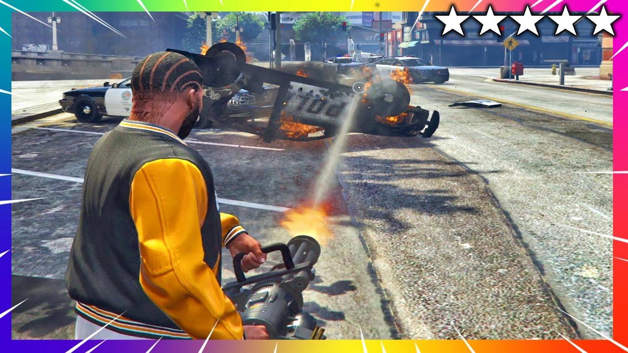 Download GTA 5 Franklin's Five Star Cop Battle - Police Shootout (GTA V Funny Trolling Moments)