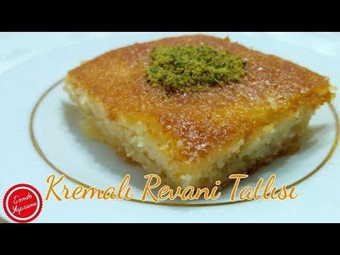 Hafif Kremalı Revani Tarifi-Şerbetli Tatlılar-Sweet Semolina Pastry Recipe