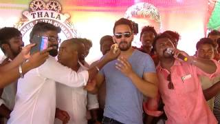 Actor Ajith's 45th Birthday Actor Bharath Joins in the Celebration With Ajith Fans at Chennai