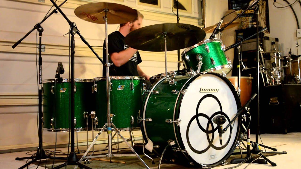 Led Zeppelin - Black Dog (Studio) Multi-Cam Drum Cover w/o Music - Vintage Ludwig Green Sparkle Kit
