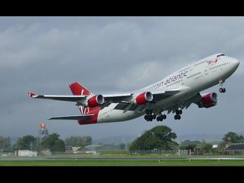 "Virgin Atlantic B747-400 (B744) G-VGAL ""Jersey Girl"" departs GLA-MCO"