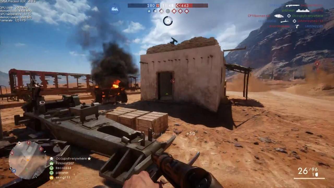 Battlefield 1 Multiplayer - (I5 6600k @4 4ghz + Gtx 1070) Ultra FPS test  1080p-144hz