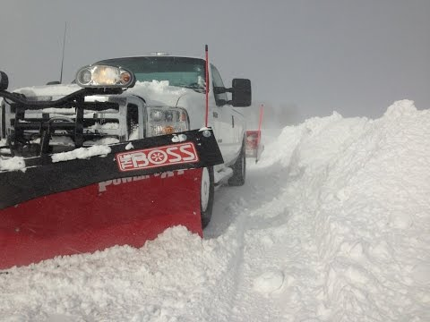 Roskam Snow Plowing 2013-14, Oceana County, Shelby Michigan, Boss Plows, Expanding backblade