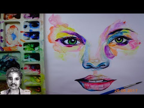 Watercolor Abstract Face Painting