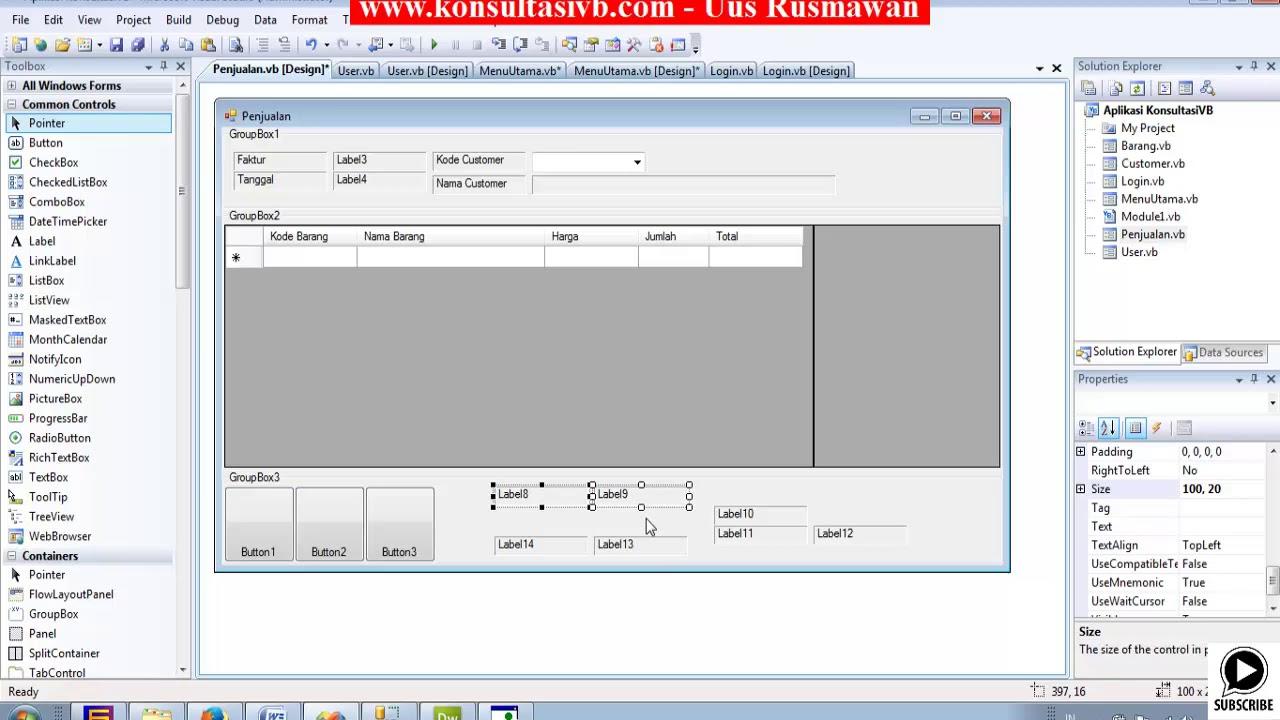 Tutorial Vb Net Membuat Form Penjualan Part13 Youtube