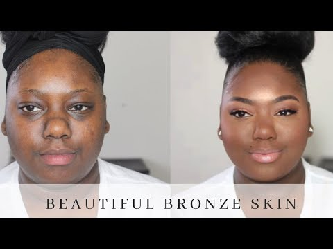 My EVERYDAY Bronze & Glowy Makeup Routine ALL DRUGSTORE| Nude Lipgloss for Darkskin