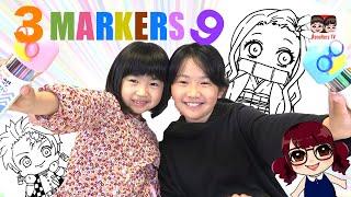 3色マーカーチャレンジ9!えっちゃんの「鬼滅の刃」イラストで!どっちが好き?3 Marker Challenge 【#1469】