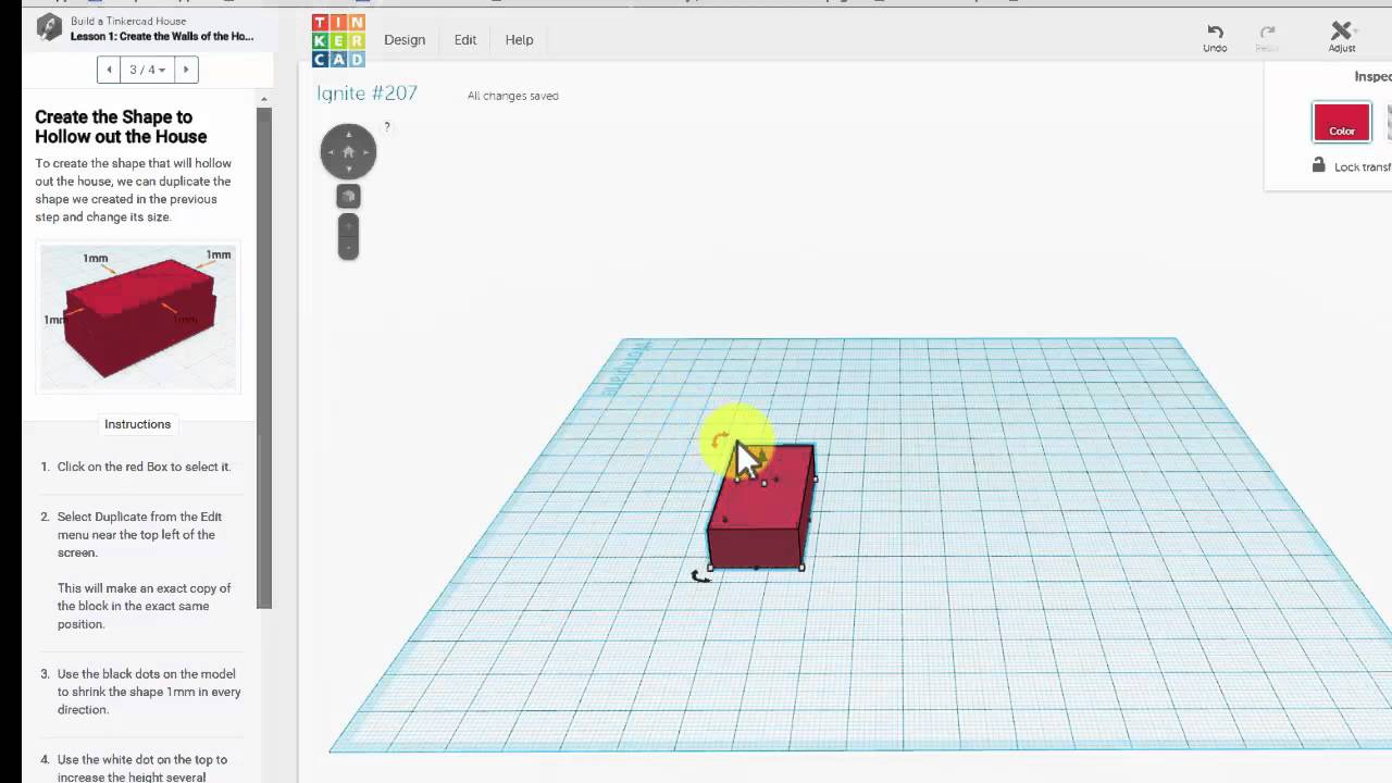 Tinkercad step one build a house