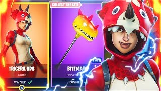 NEW Tricera Ops SKIN + Bitemark AXE - NEW Skins Update - Fortnite Battle Royale - GIVEAWAY SOON!!
