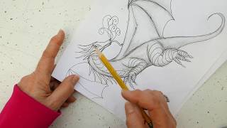 How to Draw a 3D Flying Dragon