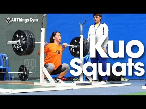 Kuo Hsing-Chun (58kg) Back Squats 2016 AsianWeightlifting Championships Training Hall
