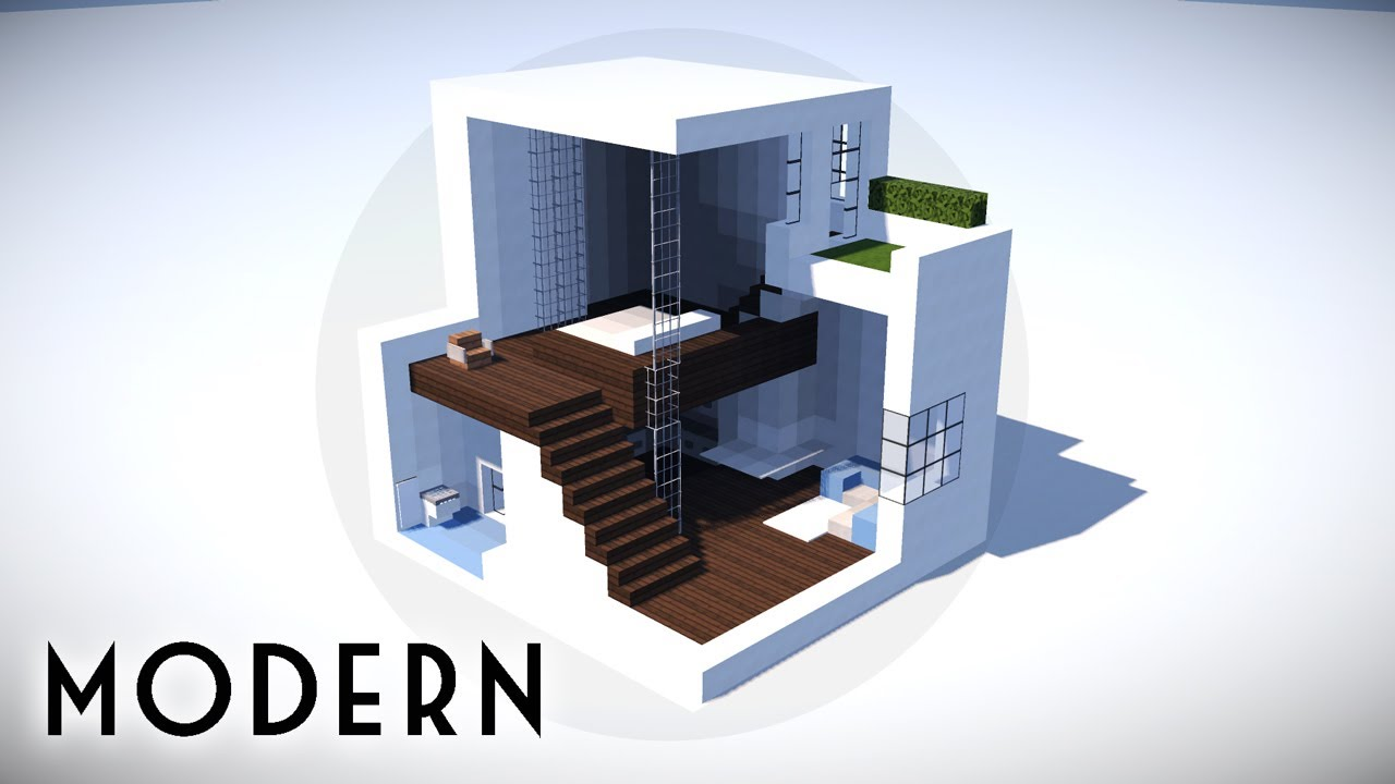 Minecraft how to build a small modern house tutorial 100 for How to build a modern house