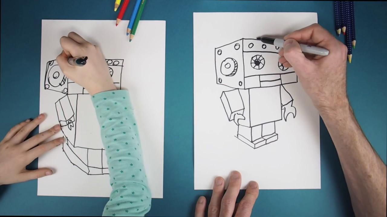 Wie Malt Man Einen Roboter How To Draw A Robot