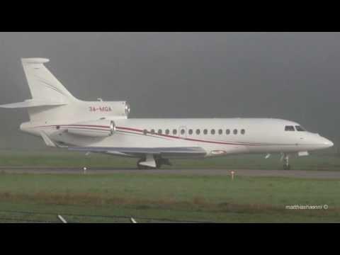 Prince of Monaco's Falcon 7X Take Off in Fog at Airport Bern-Belp