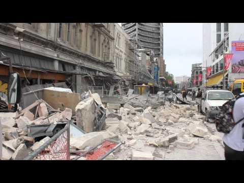 First BIG Aftershock caught on camera Feb 22nd Earthquake Christchurch