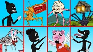 Mega Siren Head, Cartoon Mouse, Milkwalker, Mr. Hopp's | Roblox Piggy Animation | GV Studio