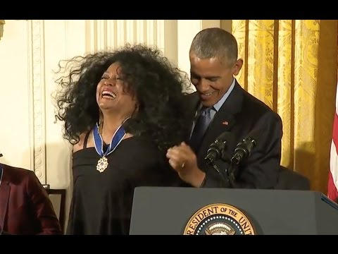 Hair Flys As Diana Ross Awarded Medal Of Freedom