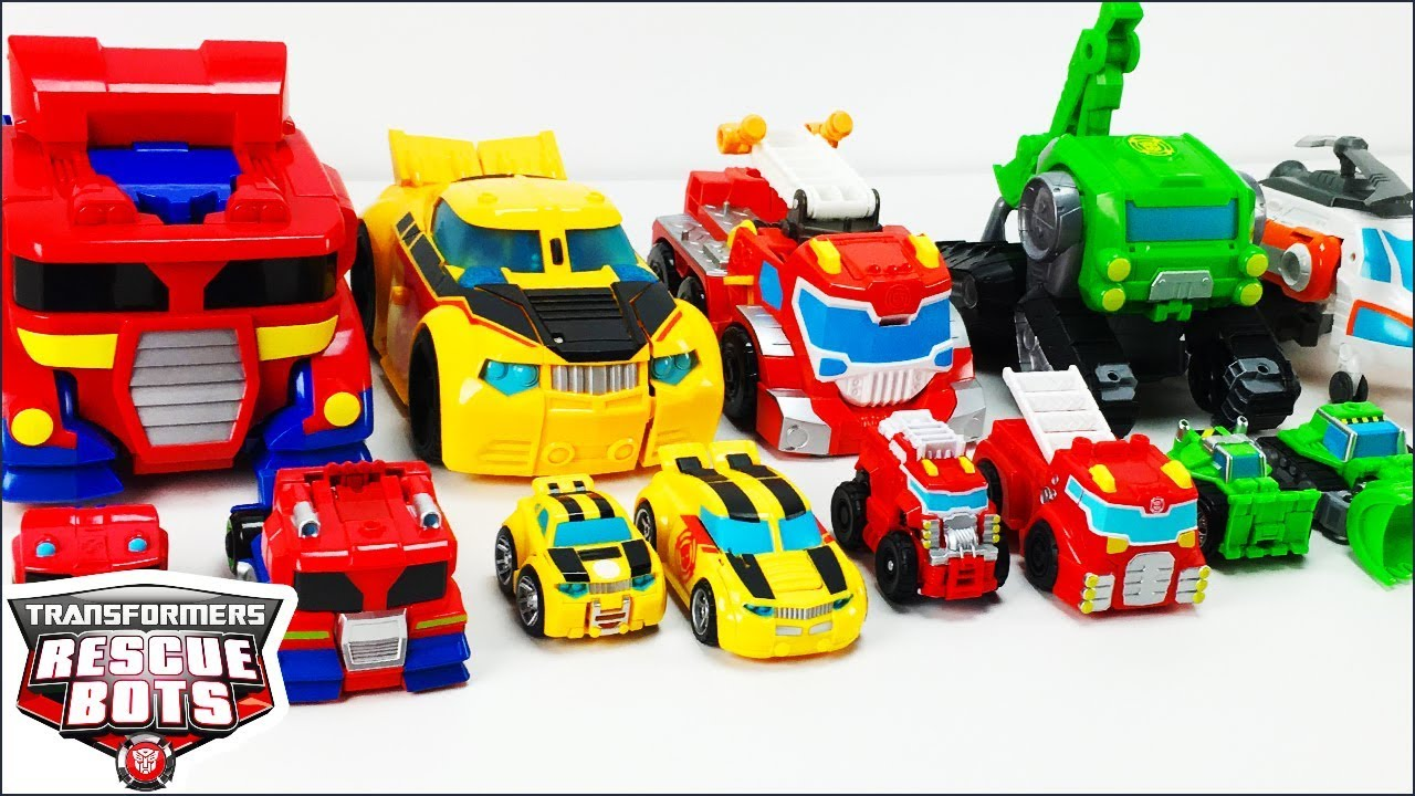 Transformers Rescue Bots Toys Collection Optimus Prime Bumblebee Heatwave Boulder And Blades Figures Youtube