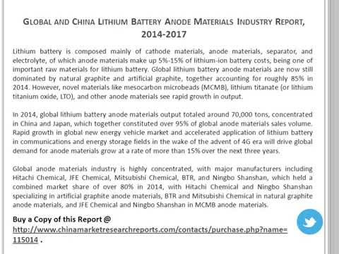 Lithium Battery Anode Materials Industry in China & World 2014-2017