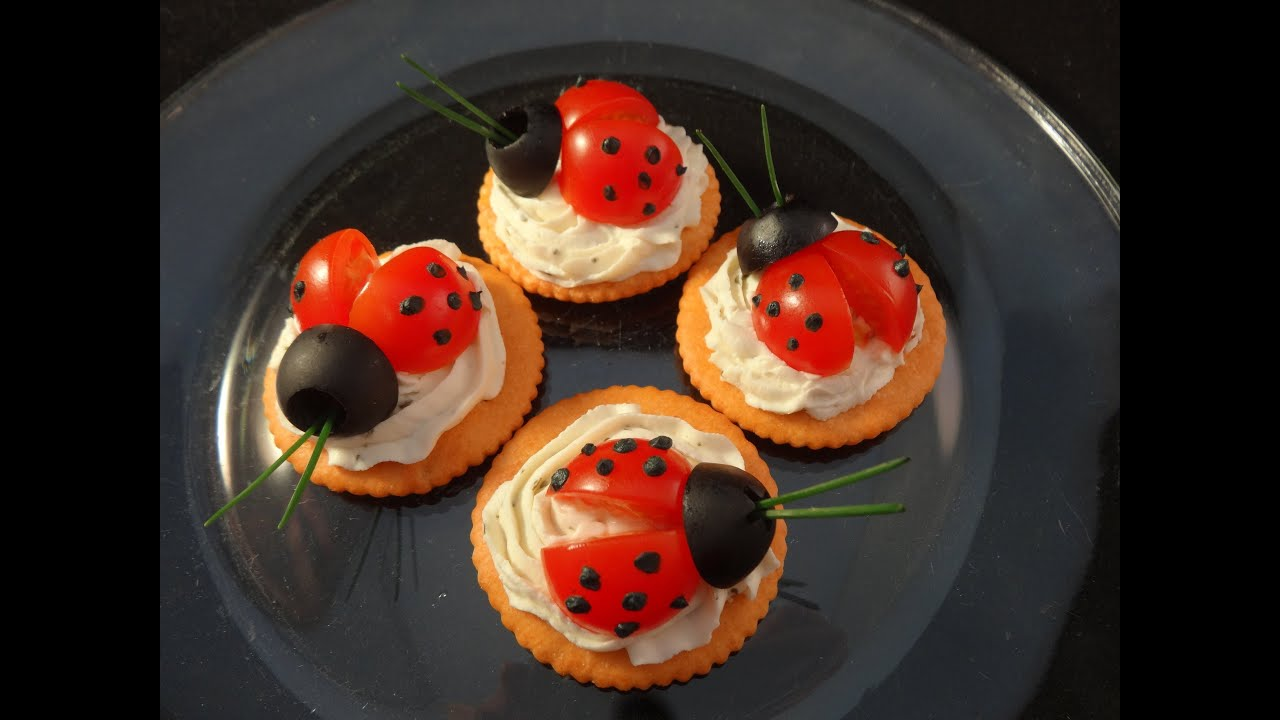 fun with food ladybug cracker appetizers youtube. Black Bedroom Furniture Sets. Home Design Ideas