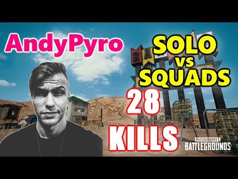 PUBG - AndyPyro - 28 KILLS - KAR98K vs SQUADS!