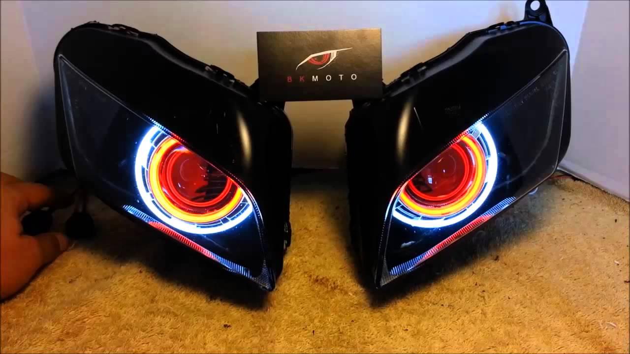 #7 2007-2012 Honda CBR600RR Projector Headlights BiXenon hid Dual Angel Eyes Halo By BKmoto ...