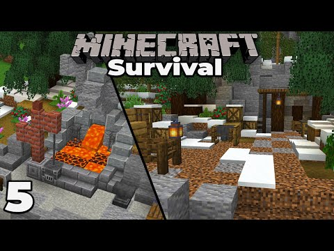 Blacksmith Forge & Building An Iron Mine : Minecraft 1.15 Survival Let's Play #5