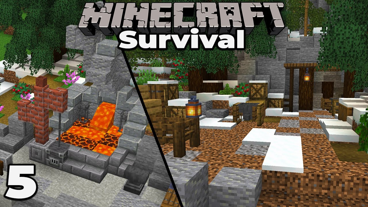 Blacksmith Forge Building An Iron Mine Minecraft 1 15 Survival Let S Play 5 Youtube