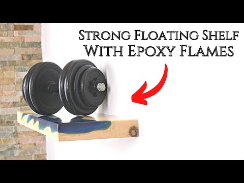 Invisible & strong Hardware /Floating Shelf with Epoxy Flame
