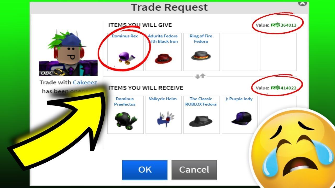 Purple Indy Roblox Trading Away My Dominus For Epic Items Roblox Trading Youtube