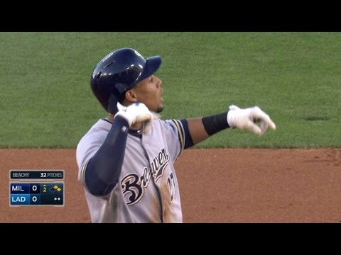 MIL@LAD: Gomez gestures towards Puig after play