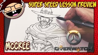 Lesson Preview: How to Draw JESSE McCREE (Overwatch) | Super Speed Time Lapse Art