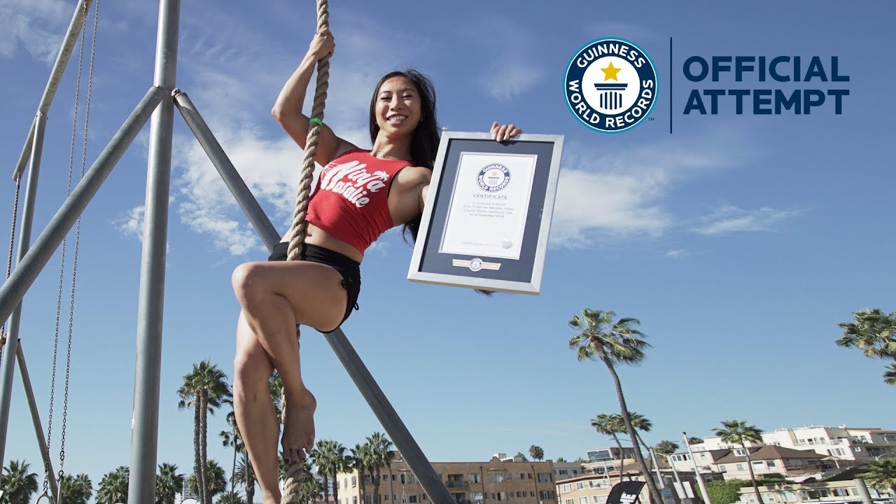 Bicie rekordu Guinnessa w najszybszym wspinaniu się po 5-metrowej linie