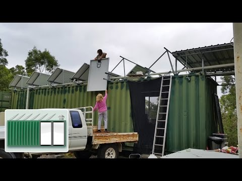 Shipping Container House – Extra solar panels on kitchen