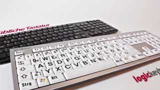 Produktvideo zu Hochwertige Großschrift-Tastatur Logickeyboard Slim Line XL