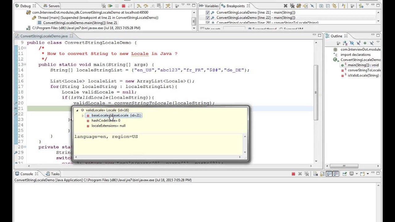 HOW TO CONVERT STRING TO NEW LOCALE IN JAVA DEMO
