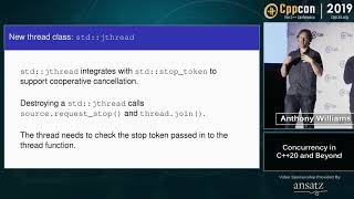 """CppCon 2019: Anthony Williams """"Concurrency in C++20 and Beyond"""" YouTube Videos"""