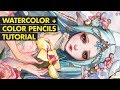 WATERCOLOR + COLOR PENCILS TUTORIAL // Painting Process of Nephele