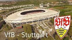 Mit dem  VfB - Stuttgart in der Mercedes Benz Arena in 4K - Aerial View